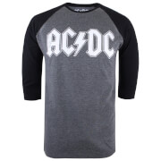 ACDC Men's Logo Raglan Logo 3/4 T-Shirt - Grey Marl/Black