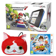Nintendo 2DS Blue/Black + Mario Kart 7 + YO-KAI WATCH + YO-KAI WATCH Jibanyan Multi Case