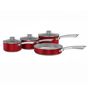 Morphy Richards 973001 4 Piece Pan Set - Red - 16/18/20cm