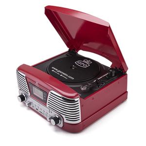 GPO Memphis Turntable 4-in-1 Musiksystem mit eingebautem CD und FM-Radio - Rot