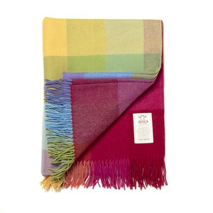 Avoca Lambswool WR73 Throw (142 x 183cm) - Blue/Red/Yellow/Orange