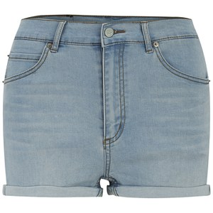 Cheap Monday Women's 'Short Skin' High-Waist Denim Shorts - Hydro Blue