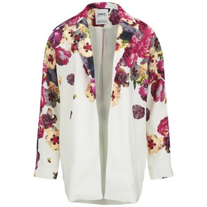 ONLY Women's Elaine Floral Spring Coat - Cloud Dancer