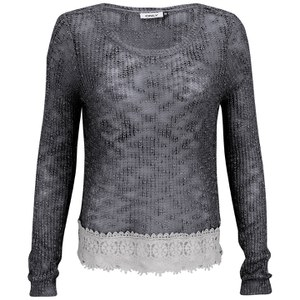 ONLY Women's Vanessa Lace Detail Knitted Jumper - Grisaille