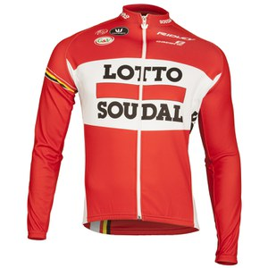 Lotto Soudal Replica Long Sleeve Full Zip Jersey - Red
