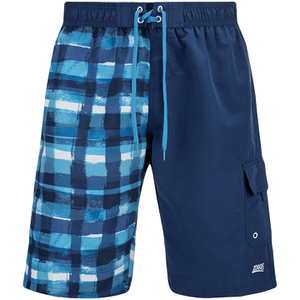 Zoggs Men's Water Check Stockton 21 Inch Swim Shorts Blue Check