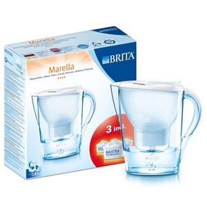 BRITA Marella Water Filter with 3 Cartridges - White (2.4L)