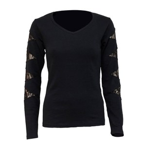 Spiral Women's GOTHIC ROCK Lace Patch Cutout V Neck Top - Black