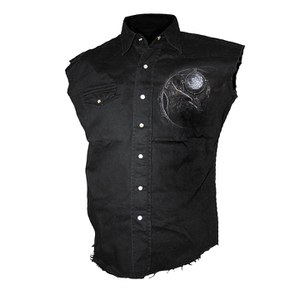 Spiral Men's WOLF DREAMS Sleeveless Stone Washed Worker Shirt - Black