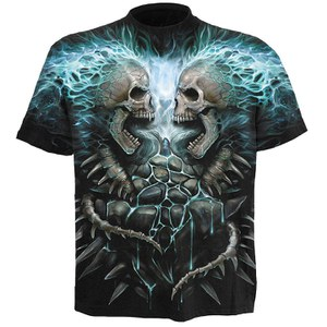 Spiral Men's FLAMING SPINE T-Shirt - Black