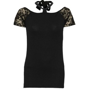Spiral Women's GOTHIC ELEGANCE Knotted NeckBand Lace Shoulder Top