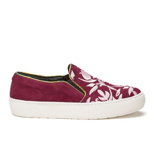 Markus Lupfer Women's Multi Printed Slip-On Trainers - Burgundy Suede/Pink Embroidery