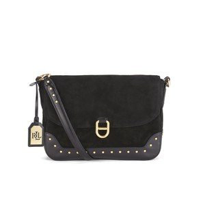 Lauren Ralph Lauren Studded Suede Messenger Bag - Black