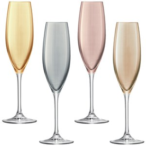 LSA Polka Champagne Flutes 225ml Metallics (Set of 4)
