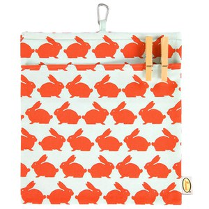Anorak Kissing Rabbits Peg Bag - Orange/Blue