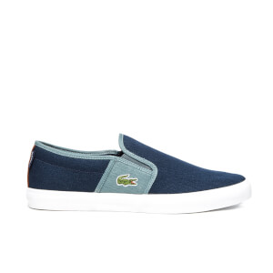 Lacoste Men's Gazon Sport SEP Canvas Slip On Trainers - Dark Blue/Grey