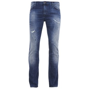 BOSS Orange Men's Tapered Fit Worn Detail Denim Jeans - 429 Blue