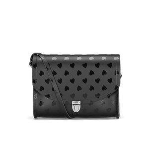 The Cambridge Satchel Company Women's Heart Print Large Push Lock Crossbody Bag - Black