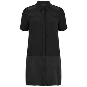 VILA Women's Casta Long Shirt Dress - Black
