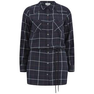 Vero Moda Women's Jannet Check Long Line Shirt - Black Iris