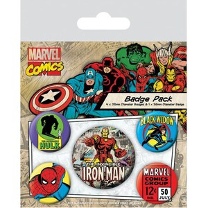 Marvel Retro Iron Man - Badge Pack