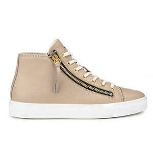 HUGO Women's Nycolette-L Leather Hi-Top Trainers - Light Beige