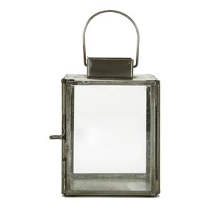 Nkuku Antique Zinc Aloma Lantern - Clear