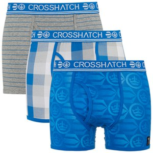Crosshatch Men's Blogo Printed 3 Pack Boxers - Deep Azure