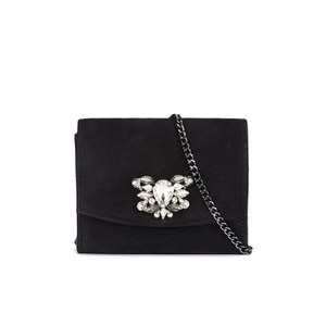 Dune Bernadette Embellished Crossbody Bag - Black Suede