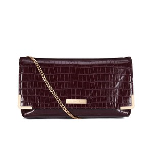 Dune Edee Clutch Bag - Berry Croc