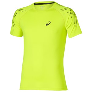 Asics Men's Stripe Running T-Shirt - Safety Yellow