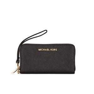 MICHAEL MICHAEL KORS Women's Jet Set Zip Around Phone Purse - Black