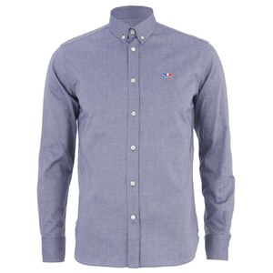 Maison Kitsuné Men's Classic Shirt with Tricolor Patch - Navy