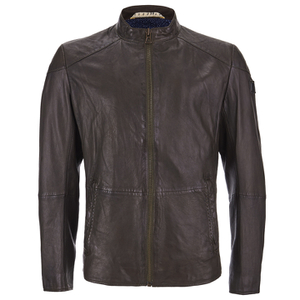 BOSS Orange Men's Jermon Leather Biker Jacket - Brown