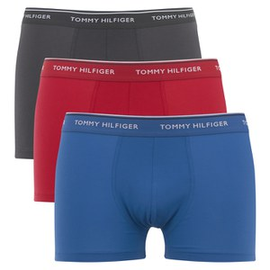 Tommy Hilfiger Men's Stretch 3 Pack Trunk Boxer Shorts - Turkish Sea/Phantom/Jester Red