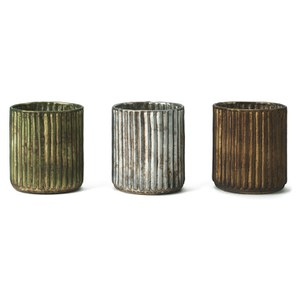 Nkuku Adari Ribbed Tea Light Holders (Set of 3)