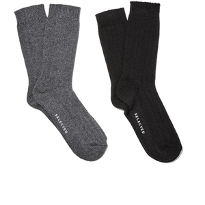 Selected Homme Men's North 2 Pack Socks - Black