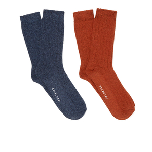 Selected Homme Men's North 2 Pack Socks - Red Dahlia