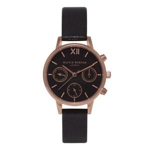 Olivia Burton Women's Midi Chrono Detail Watch - Black/Rose Gold