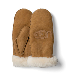 UGG Women's Classic Heritage Logo Mittens - Chestnut
