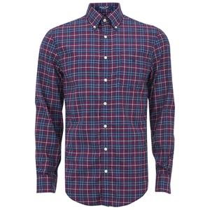GANT Men's Tiebreak Twill Check Shirt - Mahogany Red
