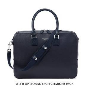 Aspinal of London Men's Mount Street Small Briefcase - Navy