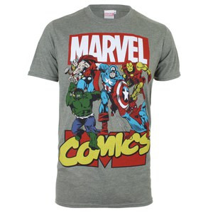 Marvel Men's Attack T-Shirt - Heather Military