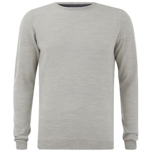 Kensington Eastside Men's Burrow Crew Neck Jumper - Light Grey Marl