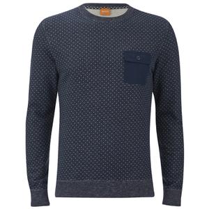 BOSS Orange Men's Wealer Patterned Sweater - Navy