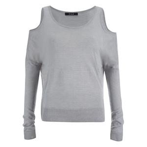 VILA Women's Count Cold Shoulder Jumper - Light Grey Melange