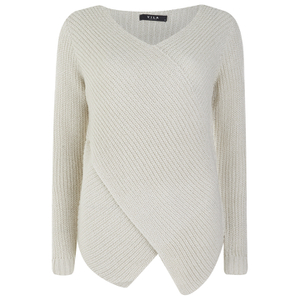 VILA Women's Match Wrap Jumper - Moonbeam