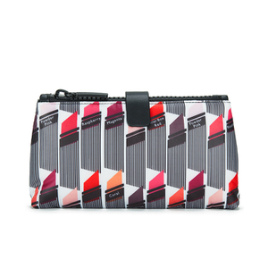 Lulu Guinness Women's Lipstick Print Double Make Up Bag - White/Black