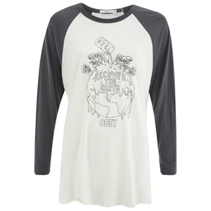 OBEY Clothing Women's Recover The Earther Raglan 3/4 Length T-Shirt - Cream/Graphite