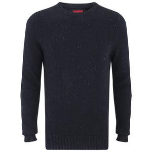 Luke Men's Smiths Crew Neck Knitted Jumper - Dark Navy Fleck